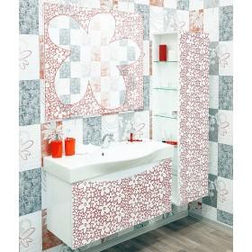 Комплект мебели для ванной Sanflor Санфлор 100 белый, патина красная