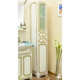Шкаф пенал для ванной Sanflor Каир патина золото
