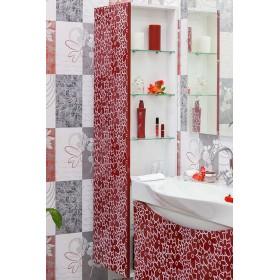 Шкаф пенал для ванной Sanflor Санфлор красный, патина белая
